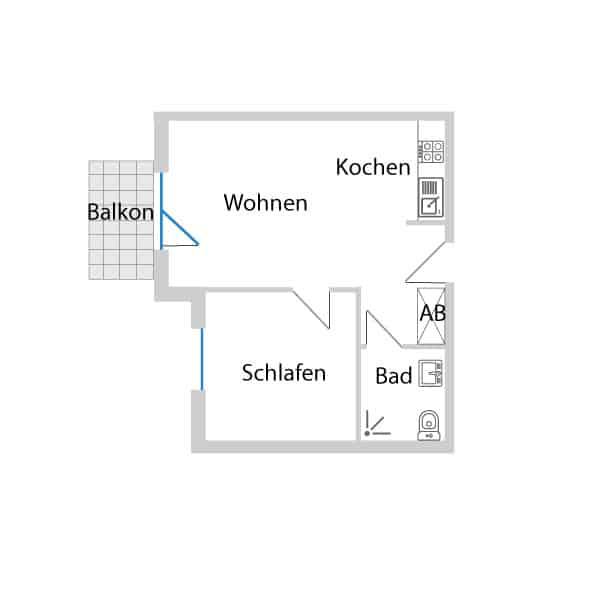 2-Zimmerwohnung im 1. OG mit 49,77 m² Wohnfläche