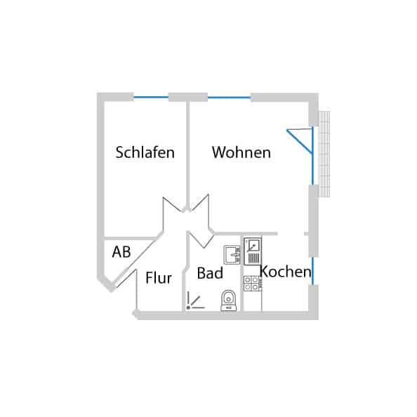 Grundriss ruhige helle 2-Zimmer Wohnung