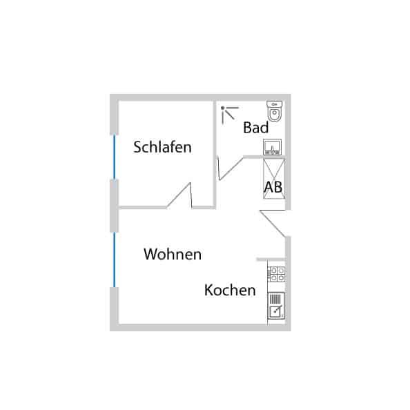 2-Zimmerwohnung mit Charakter im DG mit 43,12 m² Wohnfläche