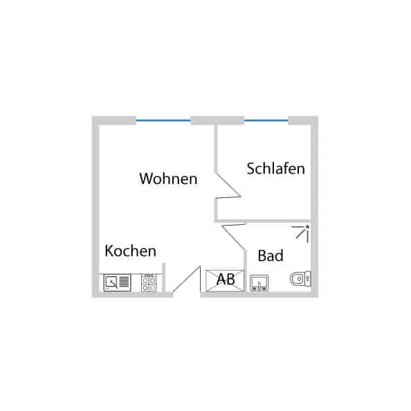 Schöne 2-Zimmerwohnung für erholsamen Schlaf im DG mit 45,13 m² Wohnfläche